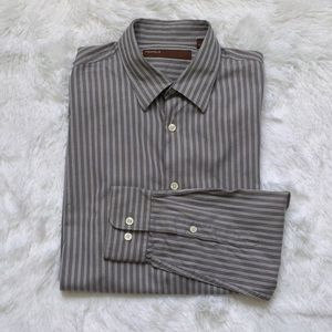 Perry Ellis Striped Button Front Long Sleeve Shirt